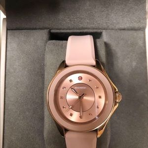 Gorgeous Michele Rose Gold watch with pink band